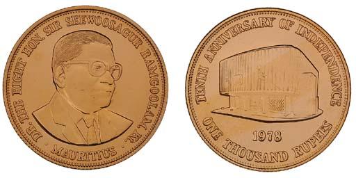 Mauritius, proof gold 1,000-Ru