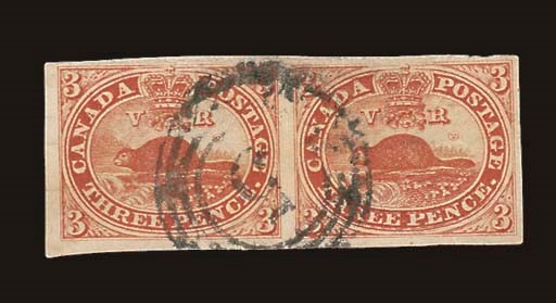used  3d. red horizontal pair
