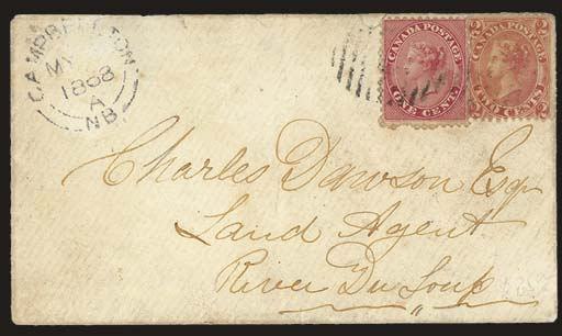 cover 1c. deep rose and 1864 2