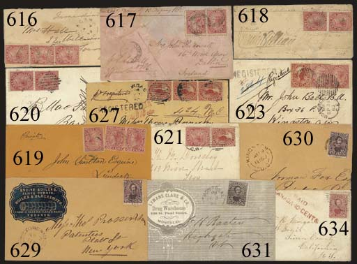 """cover 5c. deep red strip of three tied by Dundas duplex on 1860 (20 July) envelope registered to New York, showing """"CANADA/PAID 10CTS"""" h.s. in red overstruck by unframed """"REGISTERED"""" h.s.; the left stamp with small tear at top and the envelope with paper clip stain towards foot and flap missing, nevertheless a most attractive franking. S.G. 32. Photo"""
