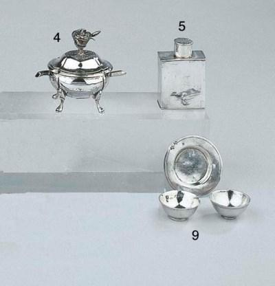 A Dutch silver miniature teaca