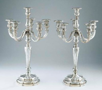 A pair of Belgian silver six-l
