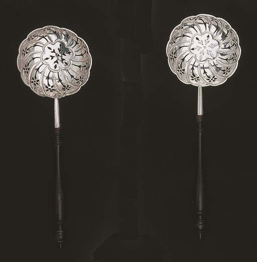Two Dutch silver caster spoons
