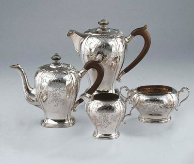 A Dutch silver four-piece tea-