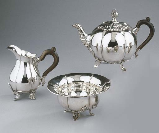 A Dutch silver three-piece tea