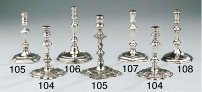 Two English silver tapersticks