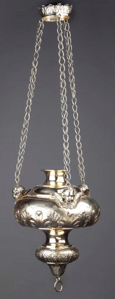 A Belgian silver hanging lamp