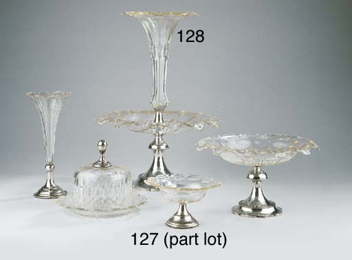A Dutch cut-glass fruit dish w