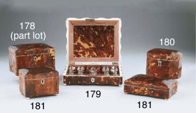 A tortoise-shell box with silv