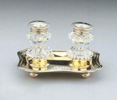 A Dutch silver-gilt ink-well