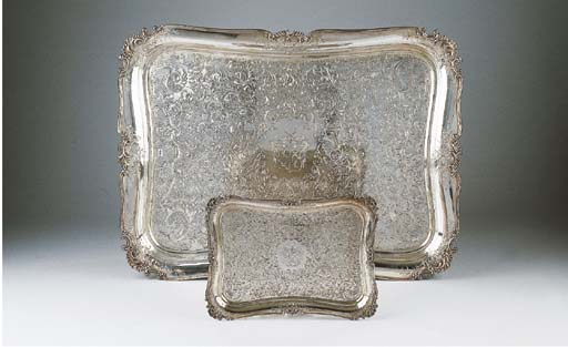 Two Dutch silver trays