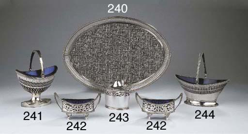 A Dutch silver sugar basket wi