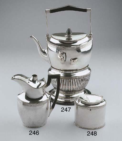 A Dutch silver teacaddy with l