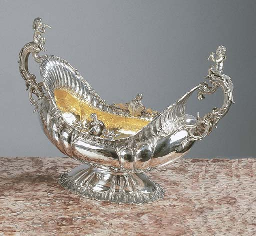 A large silver-gilt tureen