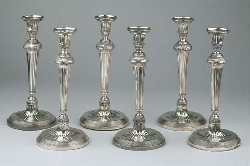 Six Dutch silver candlesticks