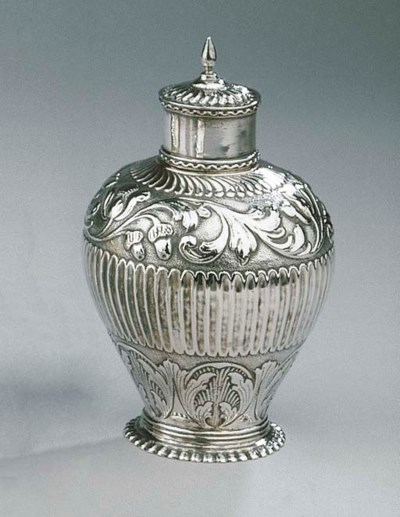 A Dutch silver teacaddy