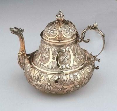 A Dutch silver-gilt teapot