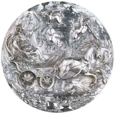 A circular silver plaquette