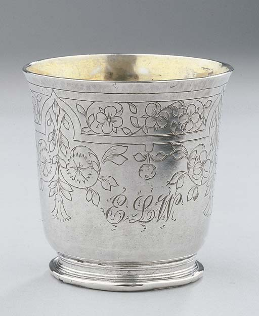 A small Dutch silver beaker