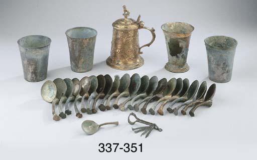Three german silver oxidated s