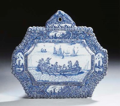 A Dutch Delft blue and white c