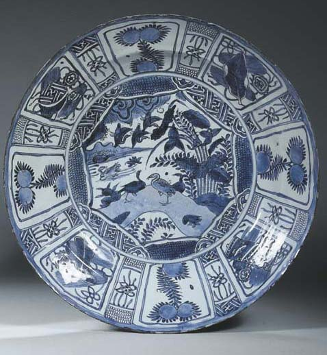 A late Ming large blue and whi