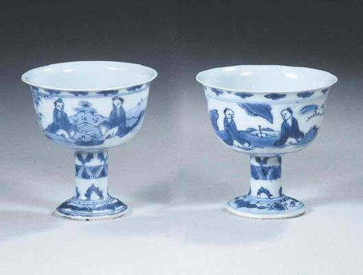 A pair of transitional blue an