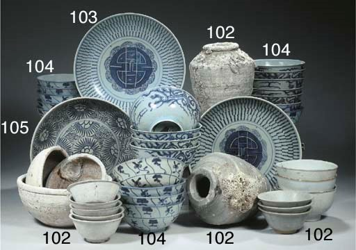 A set of ten blue and white 's