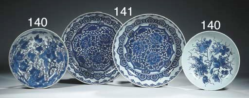 Two blue and white saucer dish
