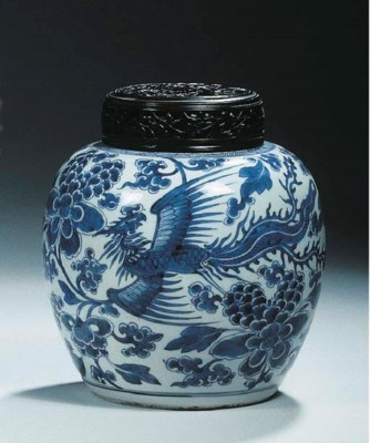 Two blue and white jars and wo