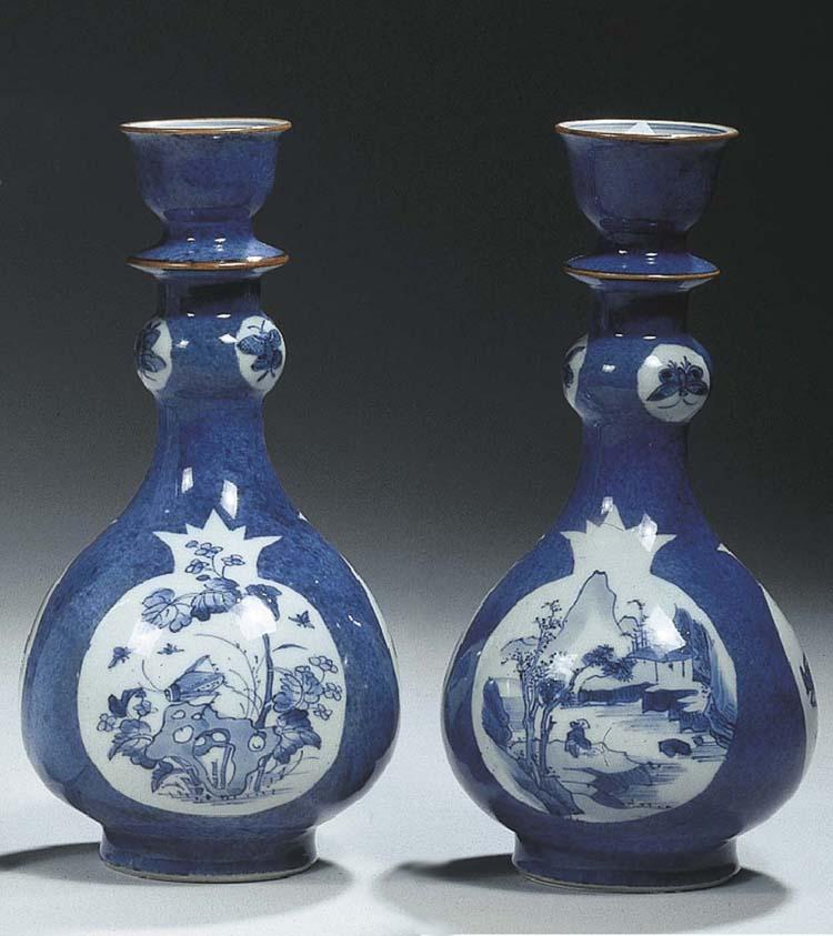 A pair of powder-blue vases