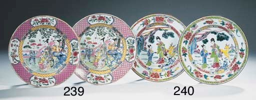 A pair of famille rose plates