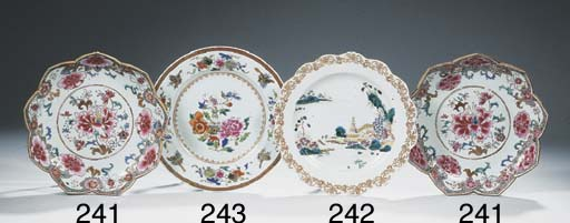 A set of eight famille rose di