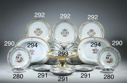 A set of six armorial plates