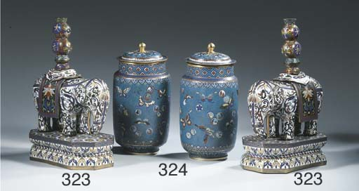 A pair of cloisonne candlestic