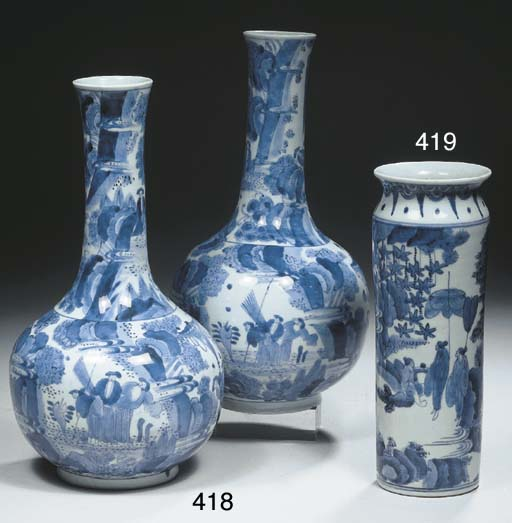 An Arita blue and white 'rolwa