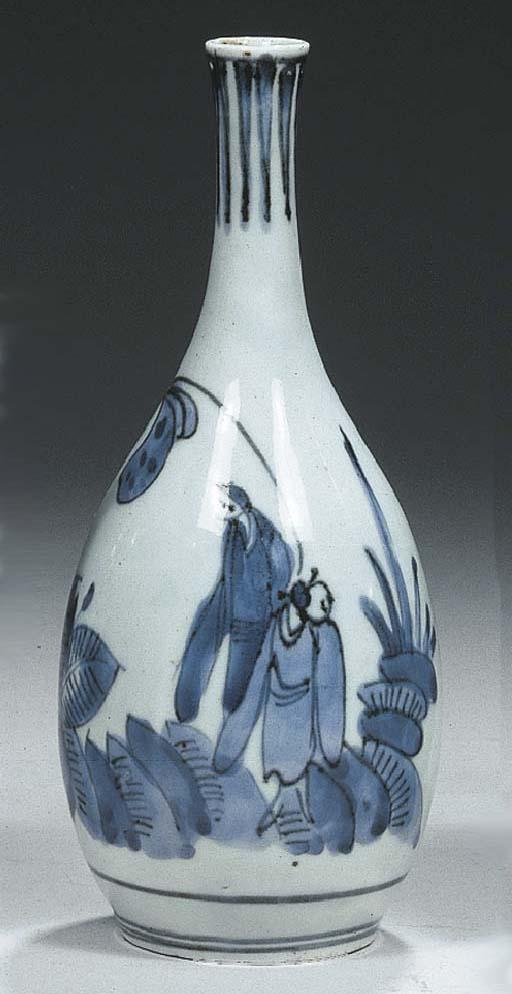 An Arita blue and white pear-s