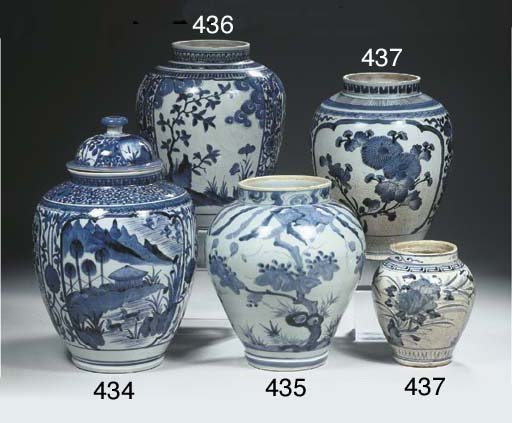 Two Arita blue and white ovoid