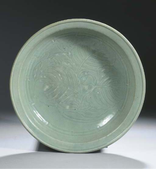 A pale celadon glazed charger,