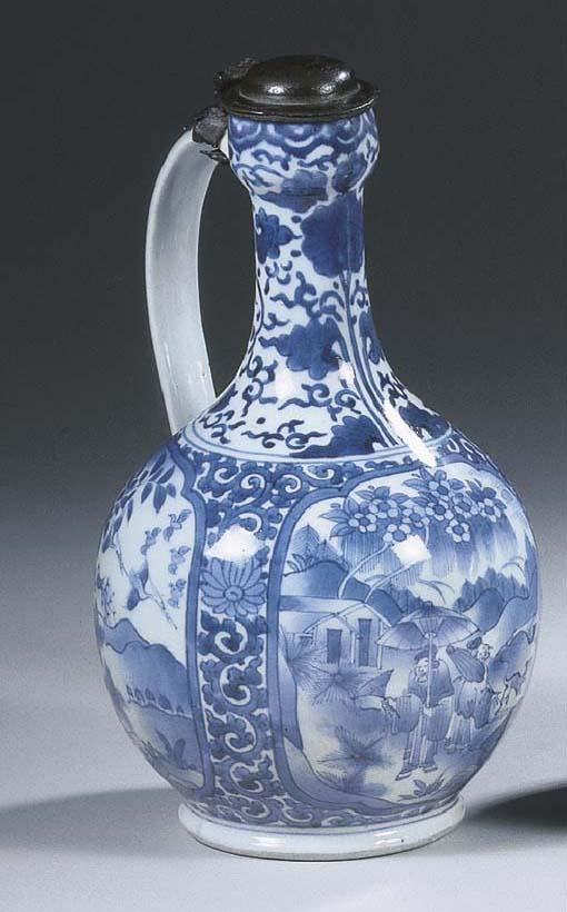 An Arita blue and white mounte