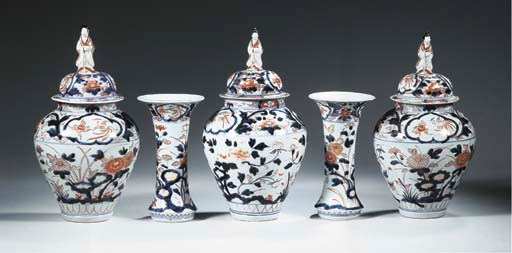 An imari five-piece garnture