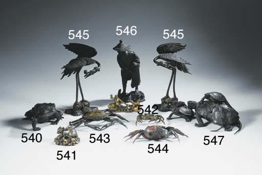 An articulated bronze model of