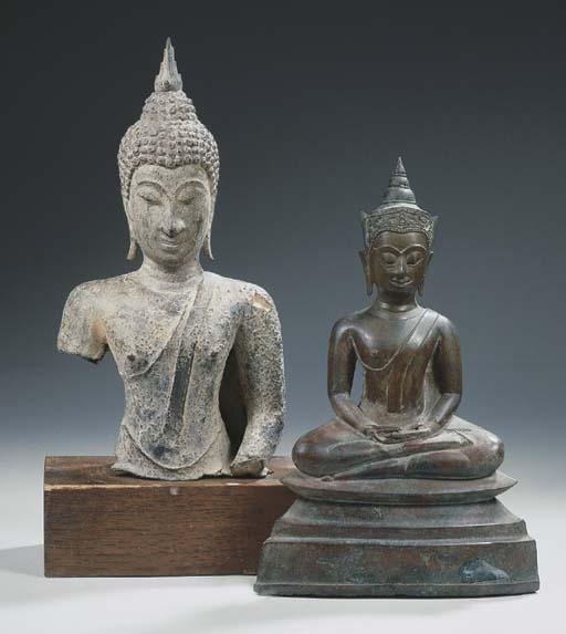 a thai bronze bust of buddha s