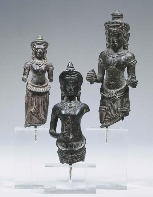 three khmer bronze female and