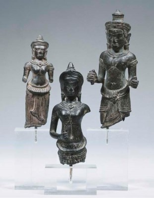three khmer bronze female and