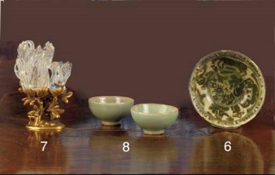 A pair of celadon glazed small