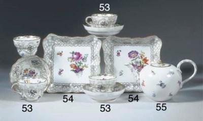 Four Meissen porcelain floral