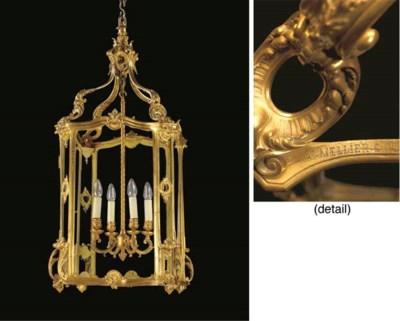 An English ormolu hall lantern