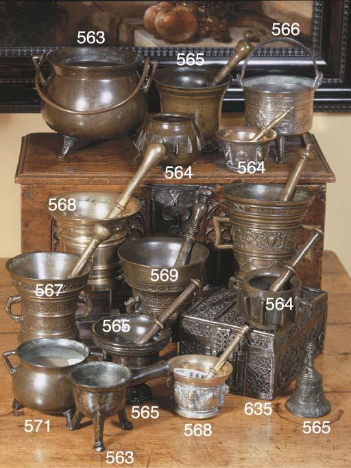 A bronze mortar and pestle