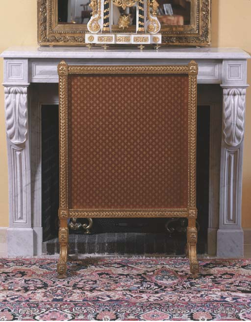A French giltwood fire screen